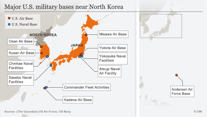Infografik Karte Major U.S. Military Bases Near North Korea ENG