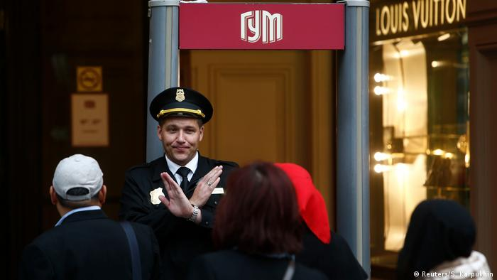Shoppers at a department store in Russia evacuated in September