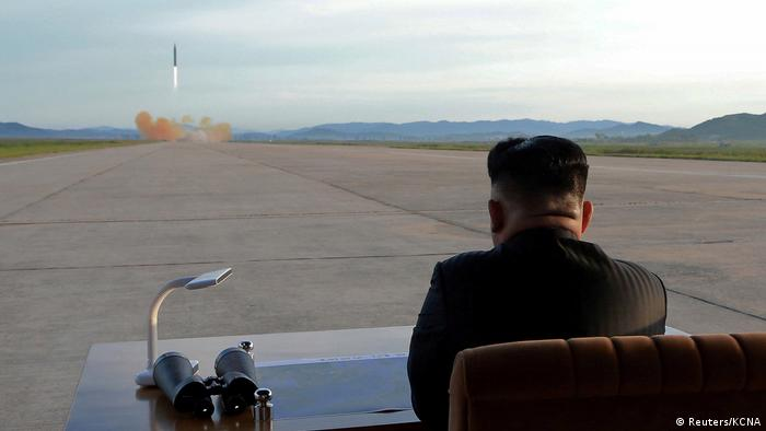 Kim Jong Un watching a missile test (Reuters/KCNA)