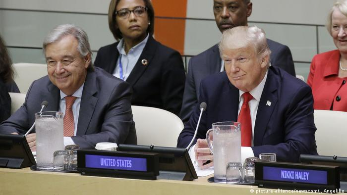 Donald Trump și secretarul general al ONU, Antonio Guterres, la New York