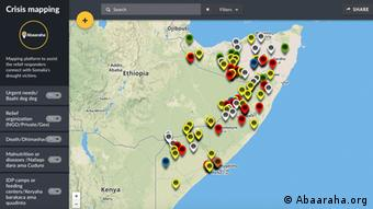 Screenshot of website with map of Somalia indicating drought-related incidents