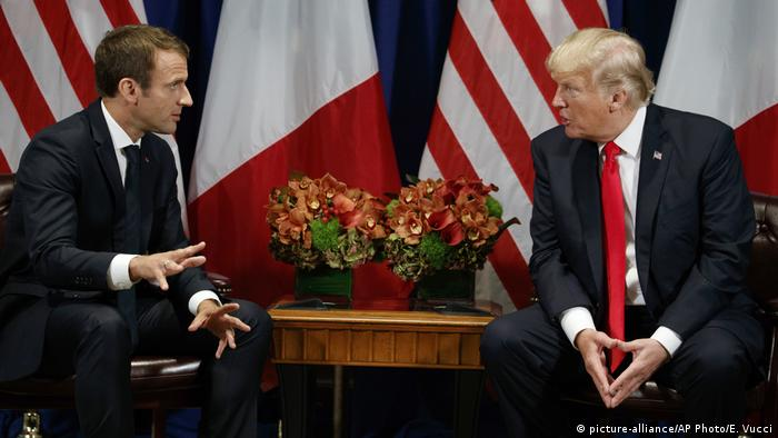 New York Emmanuel Macron, Donald Trump (picture-alliance/AP Photo/E. Vucci)