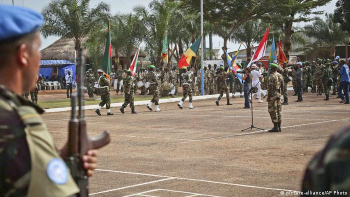UN Peacekeepers take part in a ceremony in the capital of Bangui in CAR.