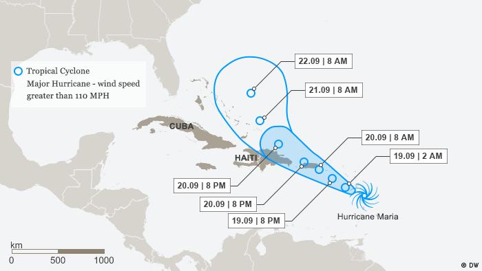 Karte Infografik Hurricane Maria ENG (DW)