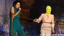 WESTON-SUPER-MARE, ENGLAND - SEPTEMBER 25: Nadya Tolokonnikova and Maria Alyokhina of Pussy Riot perform live on stage during the final weekend closing party of Dismaland on September 25, 2015 in Weston-Super-Mare, England. Graffiti artist Banksy opened the subversive, pop-up 'Bemusement Park' exhibition at the derelict seafront Tropicana lido for five weeks, attracting 150,000 visitors. (Photo by Jim Dyson/Getty Images)