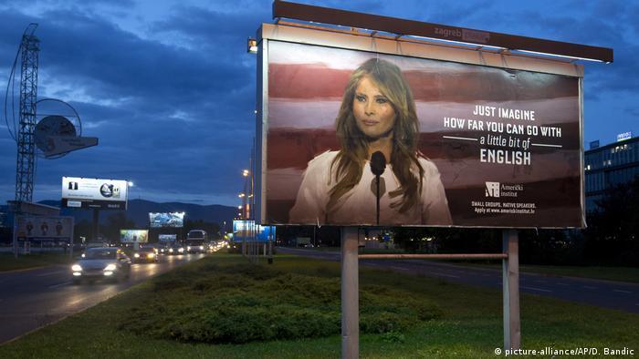 Billboard ad in Croatia showing Melania Trump