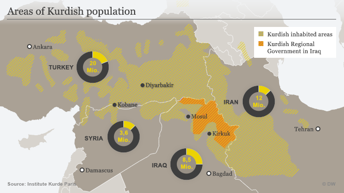 A map of where the Kurdish populace lives across Syria, Iraq, Iran and Turkey