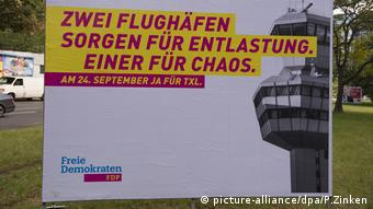 Berlin placard on the referendum over Tegel airport.