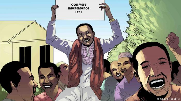 Comic image of Tanzania's president Julius Nyerere celebrating independence with others.