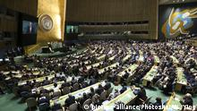 (170919) -- UNITED NATIONS, Sept. 19, 2017 () -- UN Secretary-General Antonio Guterres addresses the 72nd session of the United Nations General Assembly, at the UN headquarters in New York, Sept. 19, 2017. UN Secretary-General Antonio Guterres on Tuesday highlighted nuclear peril while addressing the General Assembly in his work report. (/Wang Ying)(zcc)  