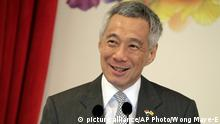 Singapore Lee Hsien Loong lacht