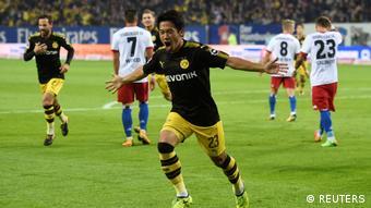 Fußball Bundesliga - Hamburg SV vs Borussia Dortmund Torjubel Kagawa