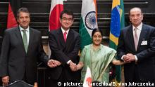 V.l.n.r.: Sigmar Gabriel (Deutschland), Taro Kono (Japan), Sushma Swaraj (Indien) und Aloysio Nunes (Brasilien)