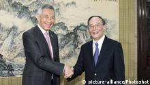 China Treffen Lee Hsien Loong und Wang Qishan