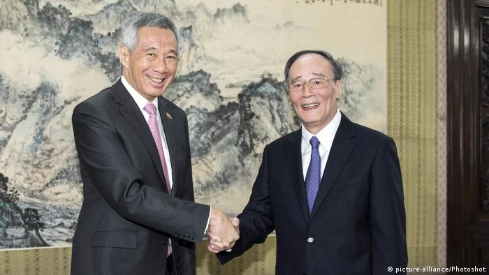 China Treffen Lee Hsien Loong und Wang Qishan (picture-alliance/Photoshot)