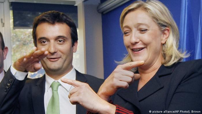 Frankreich Front National Marine Le Pen mit Florian Philippot (picture alliance/AP Photo/J. Brinon)