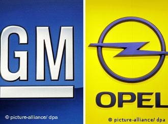 Company logos of General Motors and Opel