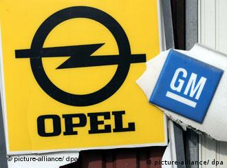 An Opel sign with the GM logo broken out of it.