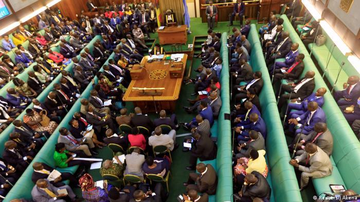 Uganda lawmakers during a debate in parliament