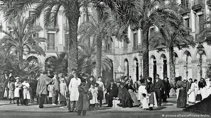 Spainien Königlicher Platz in Barcelona (19. Jahrhundert) (picture-alliance/Prisma Archiv)