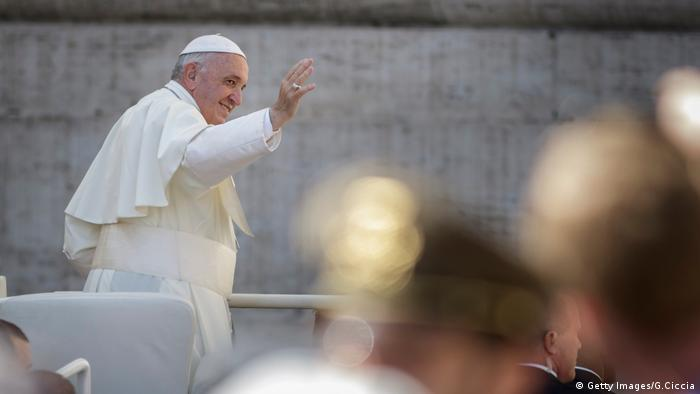 Pope Francis greets faithful at St. Peter's Square, Vatican City.