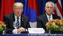 Secretary of State Rex Tillerson looks on as President Donald Trump speaks at a luncheon with South Korean President Moon Jae-in and Japanese Prime Minister Shinzo Abe, at the Palace Hotel during the United Nations General Assembly, Thursday, Sept. 21, 2017, in New York. (AP Photo/Evan Vucci) |
