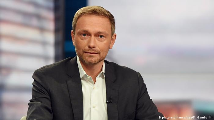 A bust shot of FDP leader Christian Lindner in Berlin.