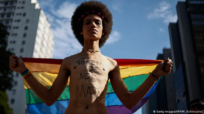 A reveler at Brazil's 21st Gay Pride Parade
