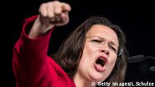 Andrea Nahles speaking to ThyssenKrupp workers