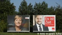 BERGEN, GERMANY - SEPTEMBER 16: Election campaign billboards that show German Chancellor and Christian Democrat (CDU) Angela Merkel and German Social Democrat (SPD) chancellor candidate Martin Schulz stand on Ruegen Island on September 16, 2017 in Bergen, Germany. Germany will hold federal elections on September 24. Merkel is seeking a fourth term and currently holds an approximate 14-point lead over her main rival, Schulz. Both the German Greens Party and the Free Democrats (FDP) are hoping to position themselves to be part of the next coalition government. The right-wing, populist Alternative for Germany (AfD) will likely finish above the 5% election votes minimum and hence win seats in the Bundestag. (Photo by Sean Gallup/Getty Images)