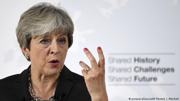 Theresa May speaking in Florence