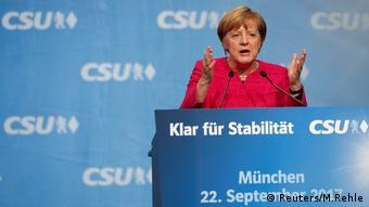 Bundeskanzlerin Angela Merkel (CDU) nimmt an der endgültigen Wahlrallye in München teil