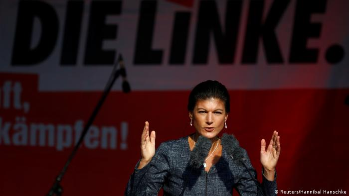 Die Linke (The Left) party leader Sahra Wagenknecht gestures with her hands at a campaign rally in Berlin on Friday, two day before the election.