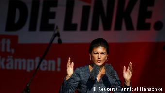 Sahra Wagenknecht Spitzenkandidatin der deutschen Linkspartei Die Linke spricht während der letzten Kampagnen-Rallye in Berlin (Reuters/Hannibal Hanschke)