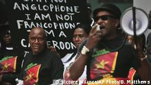Cameroonian protesters in New York outside the hotel of President Paul Biya who was attending the UN General Assembly.