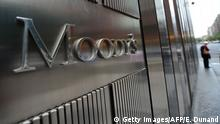 A sign for Moody's rating agency stands in front of the company headquarters in New York, September 18, 2012. AFP PHOTO/Emmanuel Dunand / AFP / EMMANUEL DUNAND (Photo credit should read EMMANUEL DUNAND/AFP/Getty Images)