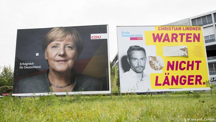 Campaign posters Angela Merkel(CDU) and Christian Lindner(FDP)