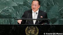 O ministro das Relações Exteriores da Coreia do Norte, Ri Yong Ho, durante discurso na ONU.