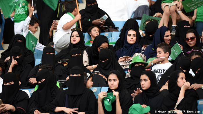Saudi women sit in a stadium to attend an event in the capital Riyadh (Getty Images/AFP/F. Nureldine )