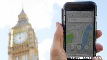 Großbritannien Uber App in London