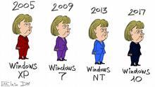 Karikatur - Jahresangaben der Wahlen in den deutschen Bundestag, Angela Merkel in Anzügen verschiedener Farben und aktuelle für diese Jahre Windowssysteme.