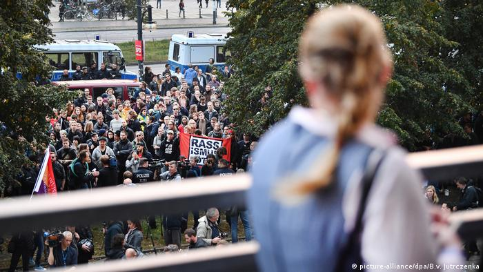 Protests at AfD election party in Berlin