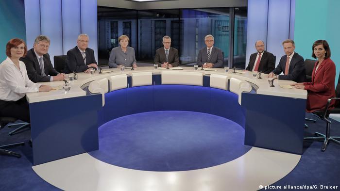 Лидеры партий, прошедших в бундестаг, в студии ARD