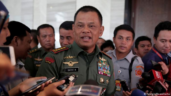 Indonesian General Gatot Nurmantyo speaks to journalists earlier in the year.
