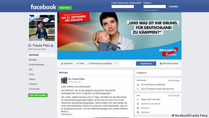 Frauke Petry Facebook Screenshot