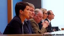 25.09.2017+++ Frauke Petry (L), chairwoman of the anti-immigration party Alternative fuer Deutschland (AfD) speaks next to Joerg Meuthen (2nd L), leader of the party and top candidates Alice Weidel (2nd R) and Alexander Gauland before a news conference in Berlin, Germany, September 25, 2017. REUTERS/Fabrizio Bensch