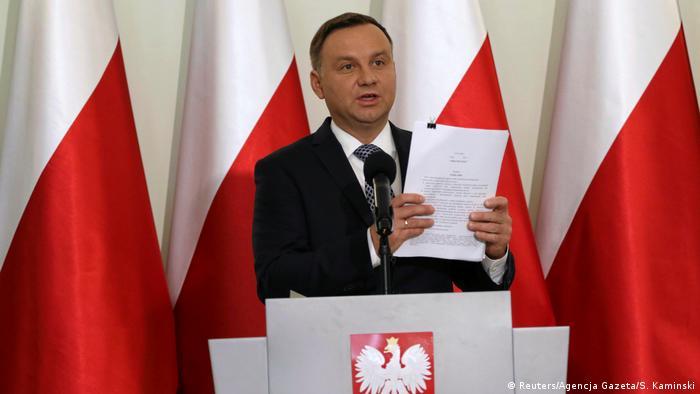 Pollen Warschau Präsident Andrzej Duda PK zur Justizreform