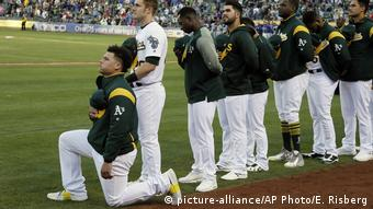 USA Baseball Oakland Athletics Bruce Maxwell (picture-alliance/AP Photo/E. Risberg)