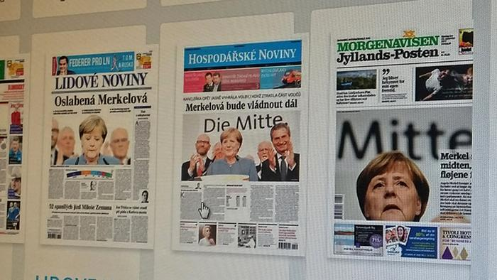 International newspaper front pages featuring reactions to Germany's election