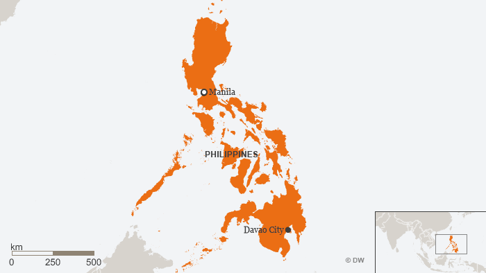 Map of the Philippines with Davao located in the south